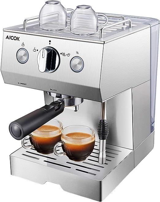 Aicok Cafetera Espresso 15 Bares, Cafetera Cappuccino y Latte, Boquilla de Espuma de Leche Profesional | 1.5 L Tanque de Agua | Calentamiento Rápido | 2 Tazas Función | Todo Acero Inoxidable Plata: Amazon.es: Hogar