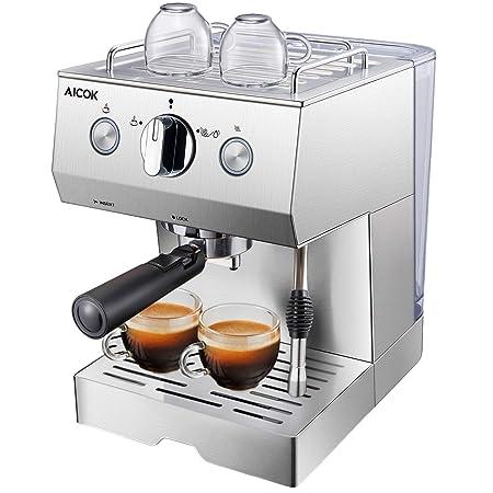 Aicok Cafetera Espresso 15 Bares, Cafetera Cappuccino y Latte, Boquilla de Espuma de Leche Profesional | 1.5 L Tanque de Agua | Calentamiento Rápido | ...