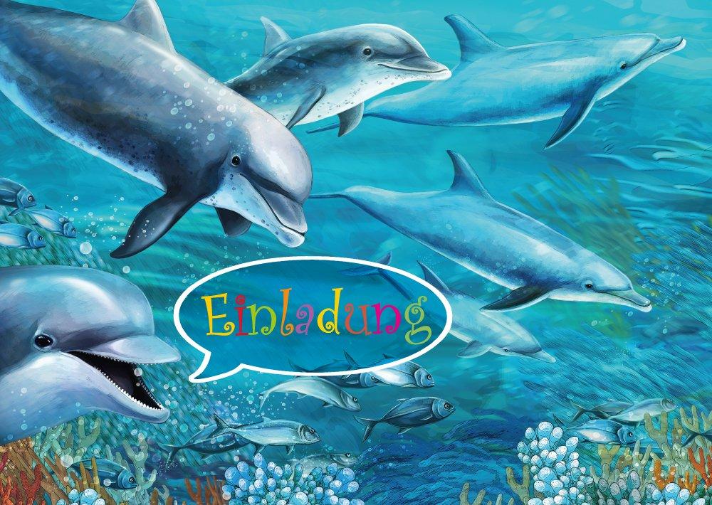 Delfin Einladungen (Set 1): 10 Er Set Delfin Einladungskarten Zum  Kindergeburtstag Oder Ins Schwimmbad Von EDITION COLIBRI © (10690):  Amazon.de: Bürobedarf ...