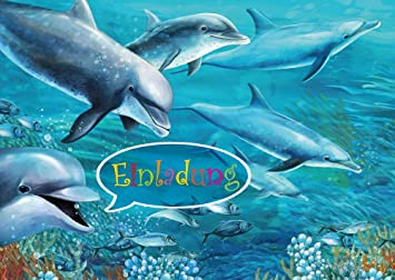 Delfin Einladungen (Set 1): 10 Er Set Delfin Einladungskarten