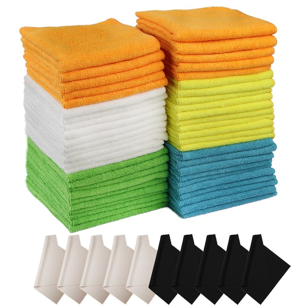 Lelix 60 Pack Microfiber Cleaning Cloth, 50 Pack of Microfiber Cloths with 10 Pack Lense Cleaning Cloths, for Car, Kitchen and House, High Absorbent, Lint-Free, Streak-Free Lelix Microfiber Cloth-60