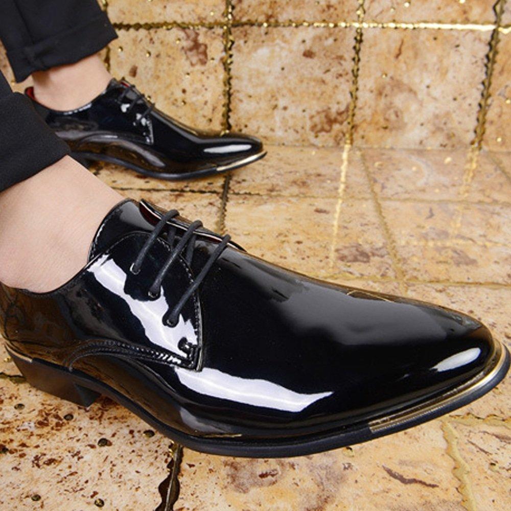 GBY Formale Halbschuhe Halbschuhe Halbschuhe aus PU-Lackleder mit niedrigem Blockabsatz schnüren Loafer-Schuhe in großen Größen  759f4f