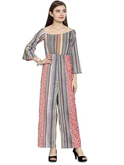 07c0bac6fcd0 Enchanted Drapes Women s Multicolor Crepe Jumpsuit  Amazon.in ...
