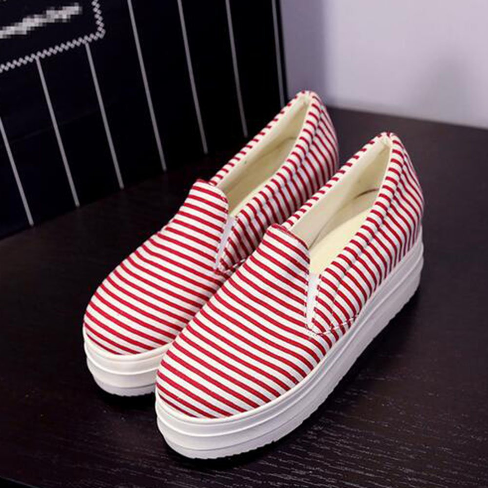 Summerwhisper Women's Striped Elastic on Platform Canvas Shoes Slip on Elastic Loafers Low Top Sneakers B01D9PX7IO 8.5 B(M) US Red 2b60a8
