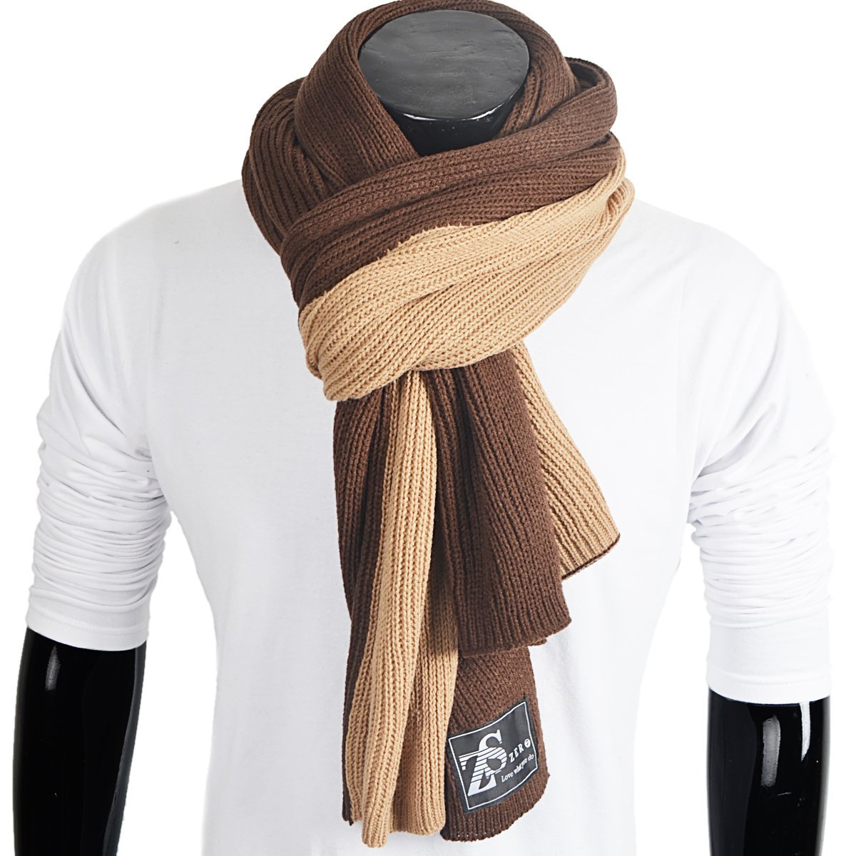 FORBUSITE Men Knit Long Winter Scarf Soft Green with Black E5002 E5002-GN