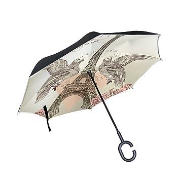 TIZORAX Valentine Paris Eiffel Tower Rose Birds - Paraguas reversible de doble capa con mango en