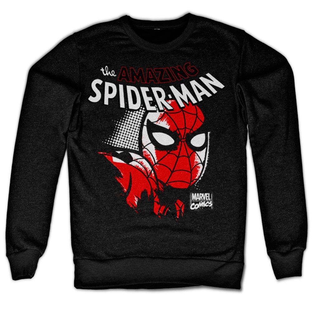 Marvel Spiderman Sweatshirt SpiderMan Close Up new Official Mens Black Spider-Man