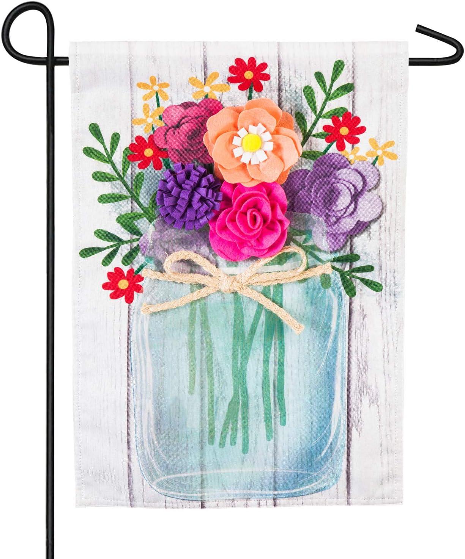 Evergreen Flag Mason Jar Linen Garden Flag - 12.5 x 18 Inches Outdoor Decor for Homes and Gardens