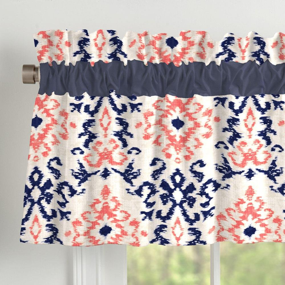 Carousel Designs Navy and Coral Ikat Window Valance Rod Pocket by Carousel Designs