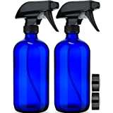 Empty Blue Glass Spray Bottles (2 Pack) - BPA Free, Lead Free - Large 16 oz Refillable Bottle for Plants, Pets, Essential Oil