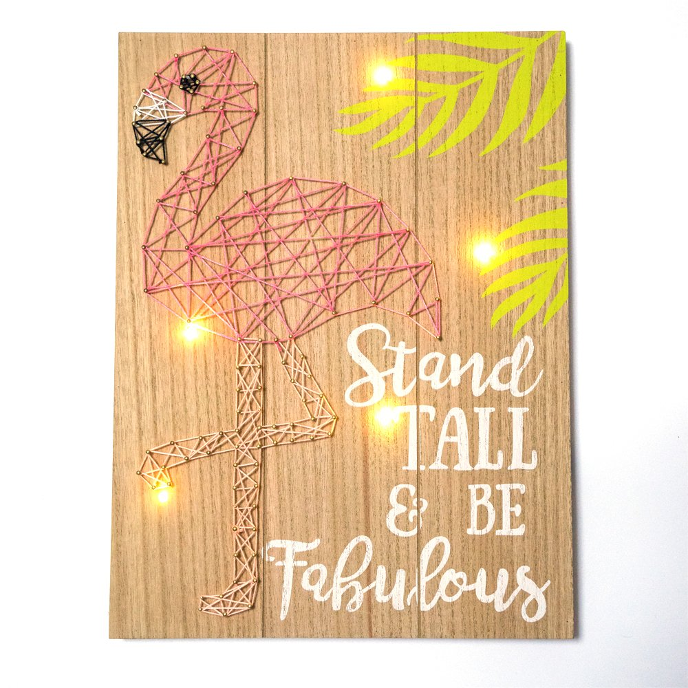 Amazon.com: GEVES String Art Flamingo Decorative Plaques with Lights ...