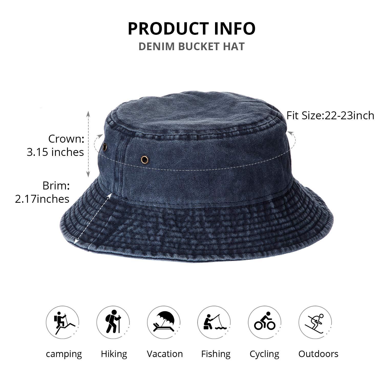 2 Pieces Washed Cotton Denim Bucket Hat Travel Packable Beach Sun Hat for Unisex