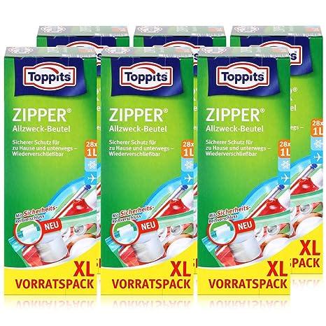 Toppits Zipper - Bolsas multiusos (20 x 15 cm, tamaño XL, 28 ...