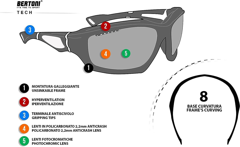 F1000 Verres de Cat 0 /à Cat.3 BERTONI Lunettes de Sport Photochromiques Sportives Enveloppantes Coupe-Vent Anti-bu/ée pour Cyclisme Course V/élo Ski Sport Nautiques Kitesurf