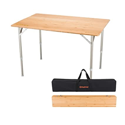Beau KingCamp 4 Fold Heavy Duty Adjustable Height Aluminum Frame Folding Bamboo  Table With Carry Bag