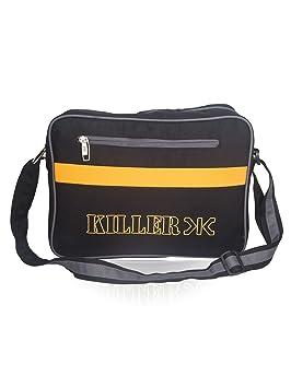 Mens Sling Bag - Killer CARSON Man Messenger Sling Bag Trendy PU messenger  Bag - Black 1b14187dac