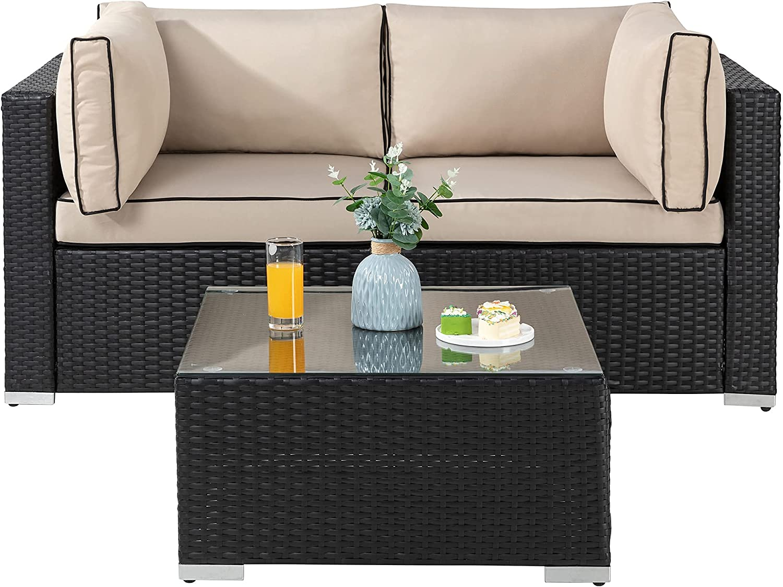 JY QAQA 3 Pieces Patio Outdoor Furniture Sets Conversation Sofa with Tea Table All-Weather PE Rattan Loveseat Corner Sofa