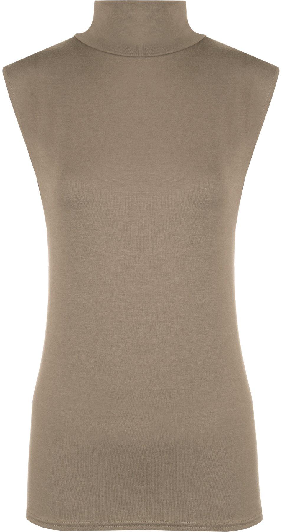 WearAll Women's Plus Size Turtle Neck Sleeveless Top - Mocha - US 16-18 (UK 20-22)