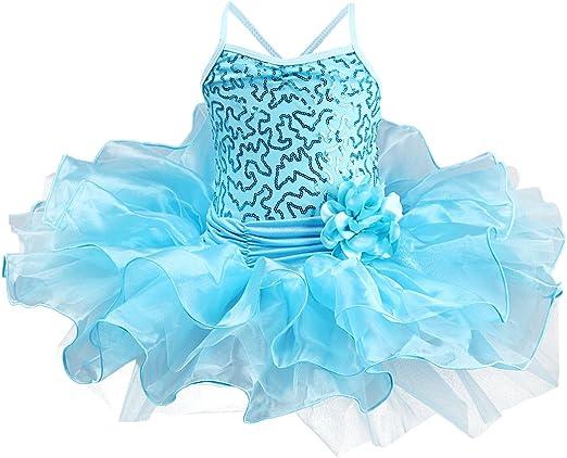 zdhoor Girls Sleeveless Ballet Dance Dress Gymnastics Leotard Ruffle Tutu Skirt Dancewear Dancing Costume
