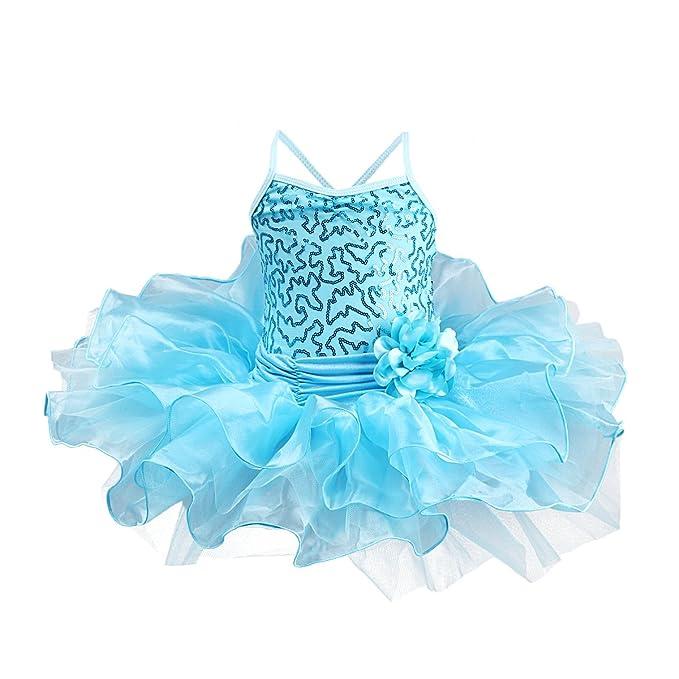 4f0f1d003e54 FYMNSI Girls Sequins Camisole Ballet Tutu Dress Gymnastic Dance ...