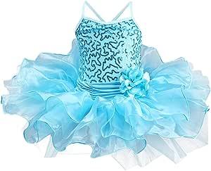 Toddler Kid Girl Sequin Ballet Tutu Dress Gymnastics Ballerina Camisole Flower Skirted Leotard Dancewear Costume