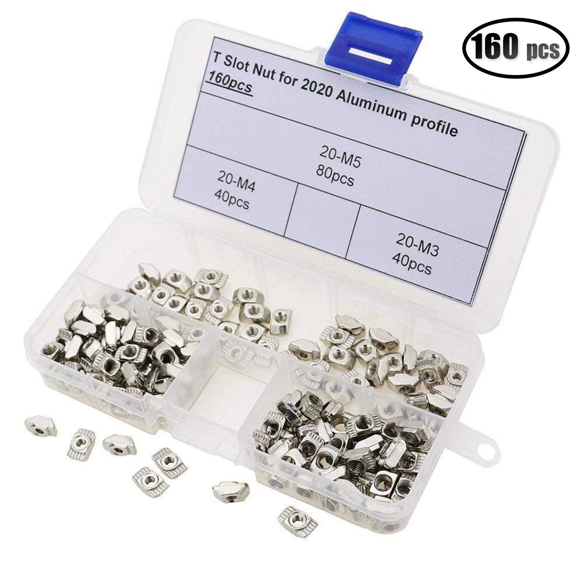 IZTOSS 160PCS M3,M4,M5 Post Assembly T Nut for 2020 Aluminum Profile Assortment kit