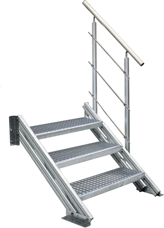 Escalera de perfil de aluminio COLORADO para exteriores con escalones de rejilla de 1000 mm de ancho, 4 niveles: Amazon.es: Bricolaje y herramientas