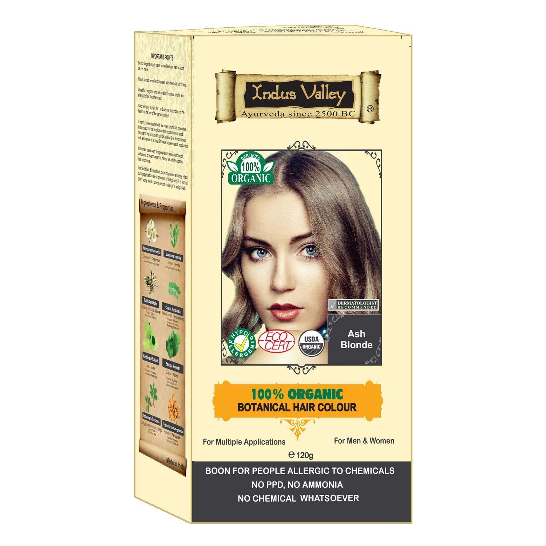 Indus Valley 100 Botanical 100 Organic Ash Blonde Natural Hair Dye For Sensitive Skin Pregnant Women Lactating Women For Allergy Sufferers 120