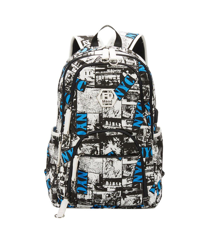 Maod Uomo Zaino Università Grandi Laptop Backpack per 15.6 pollice Graffiti Borsa Scuola Ragazzi Impermeabile Zaini Casual (Azul) QN-bb-08-1