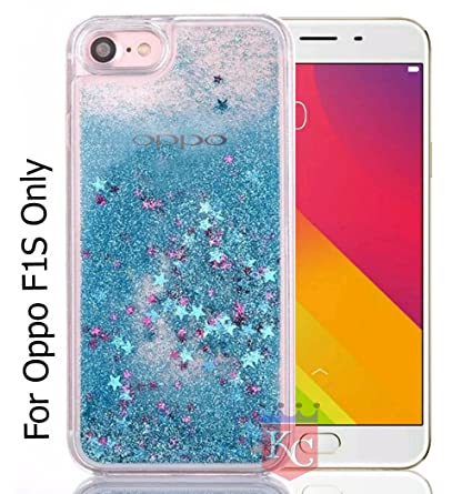 on sale 5e315 17ecc KC Liquid Flowing Moving 3D Bling Glitter Stars Transparent Soft Silicon  Back Cover for Oppo F1s (Blue)