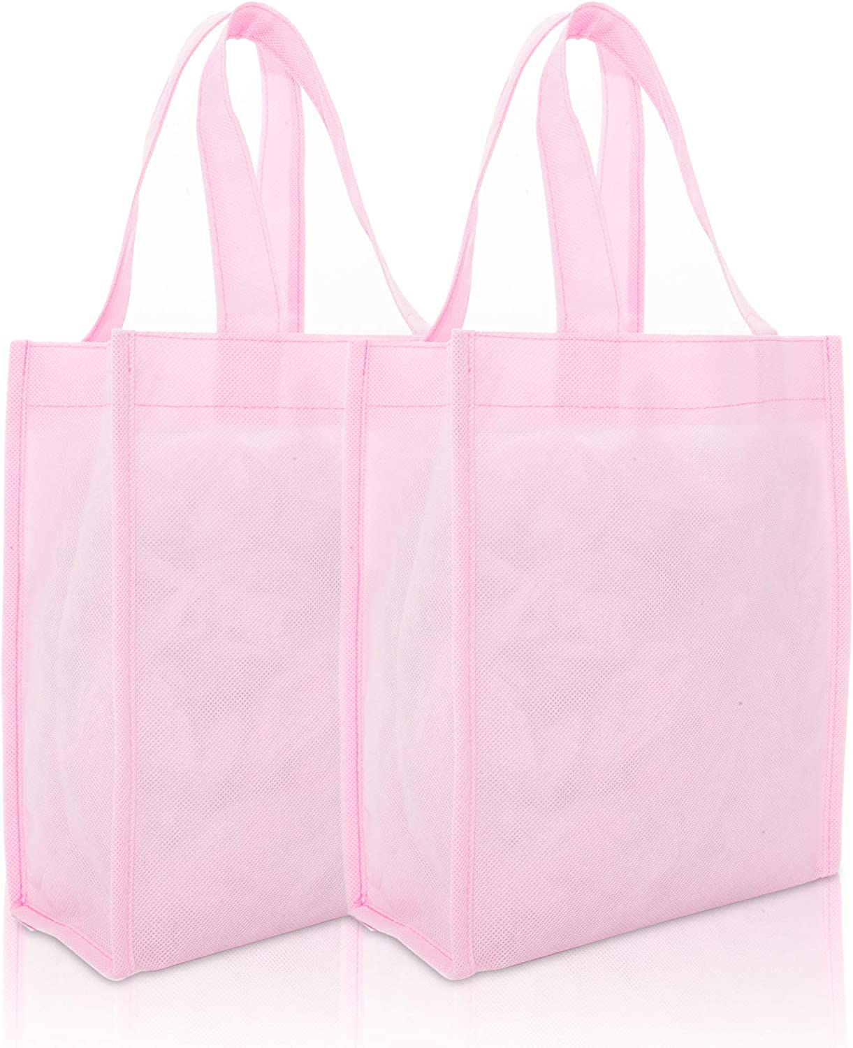 "DALIX 10"" Mini Shopping Totes Small Resuseable Bags for Women and Children in Pink-2 PACK"