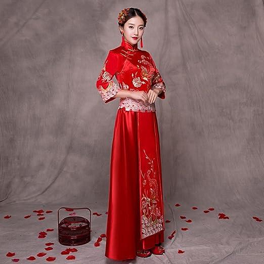 JJK Xiu Wo Novia Gorda Mm Tama?o Grande Mujeres Embarazadas Tostadas de Cintura Alta Chino Vestido de Novia Rojo Cheongsam,UN,S: Amazon.es: Hogar
