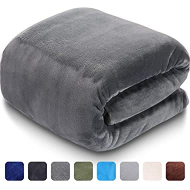 LEISURE TOWN Soft Blanket Queen Size 3D AIR-Fiber Fleece Cooling Blankets for All Season Lightweight Warm, Luxury Cozy Plush Throw Blanket for Sofa Bed Couch, 90 by 90 Inches, Grey
