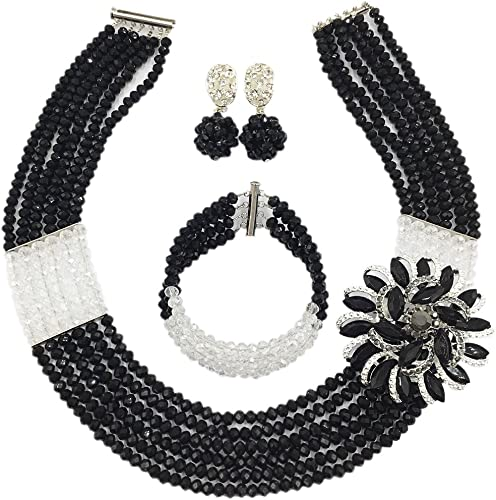laanc 2 Layer 18 inch Womens African Beads Necklace Bracelet Nigeria Wedding Lady Party jewelry set