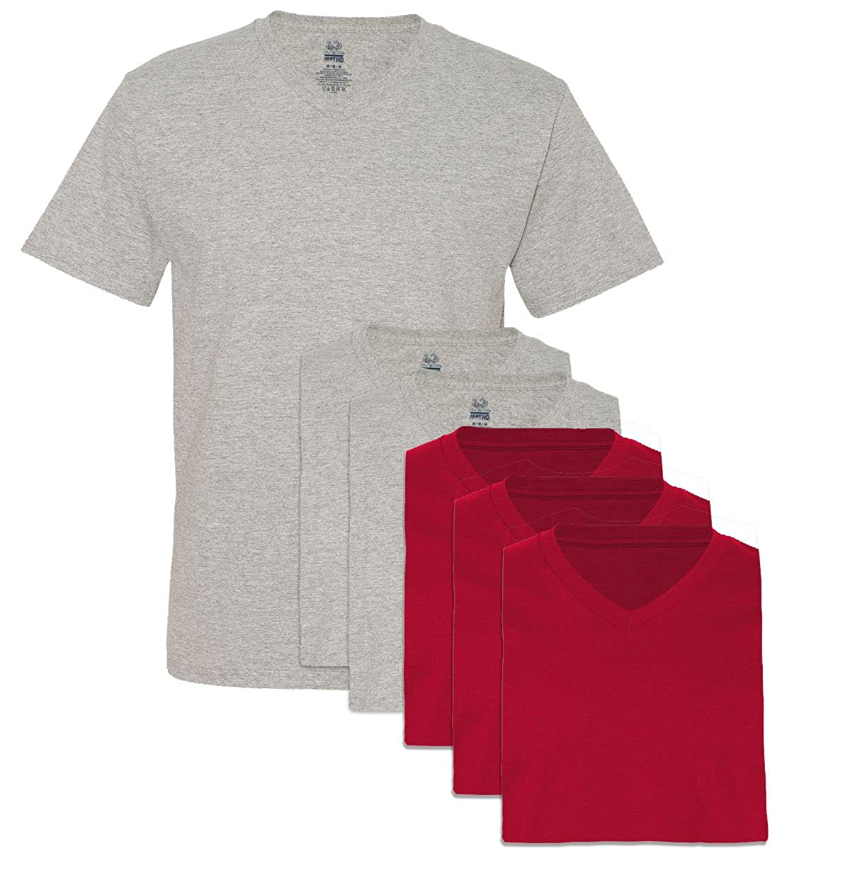 Fruit of the Loom Mens 6 Pack V-Neck T-Shirt XL 3 Red 3 Athletic Heather