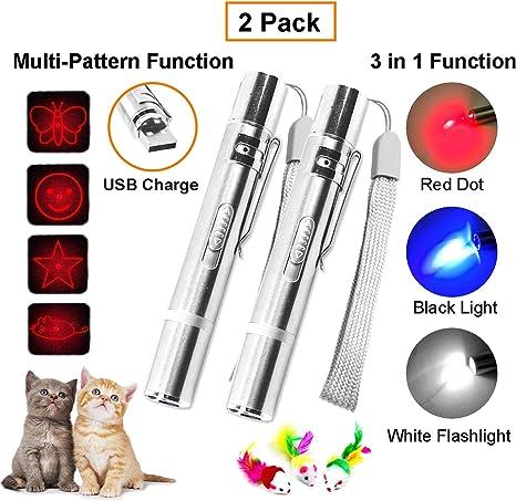 LED Light Beam Red White Laser Pointer Toy Pen Pet Cat Toys