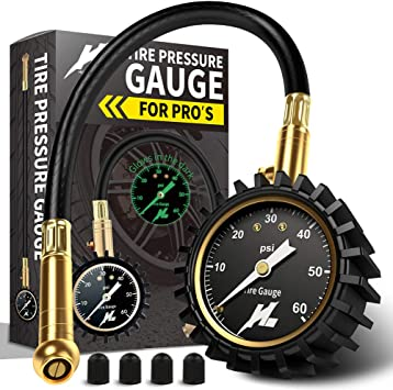 60 PSI Portable Heavy Duty Mechanical for Car Truck Motorcycle Bicycle with Glow Dial AstroAI ATG60 Tire Pressure Gauge