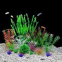 QUMY Aquarium Plants Plastic Artificial Fish Tank Plants Decoration Set for All Fish 14 PCS