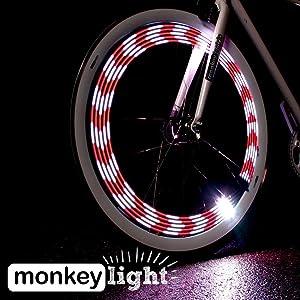 Monkey Light M210R Wheel Bike Light Rechargable Battery Multicolor USA Assembled Waterproof Tire Spoke for Womens Bike Road Electric Bikes Mens Mountain Cycling Hybrid Cruisers BMX Boys & Girls