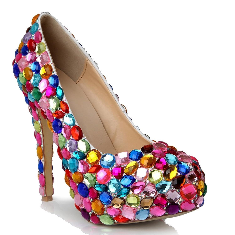 Lacitena Zapatos de Tacón Alto de Siete Colores con Taladro de Vidrio para Mujeres 37 EU