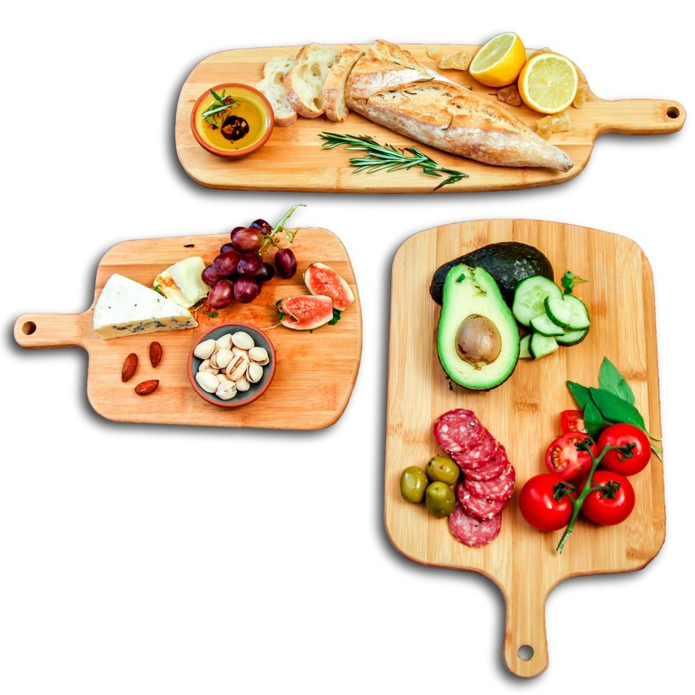 KIT KITCHEN Bamboo Cutting Board Natural Wood Chopping Wooden Boards Large Small Kitchen Home 100% Organic Set of 3 Pieces for Carving Serving Cheese, Bread, Meat, Vegetables, Fruits, Charcuterie