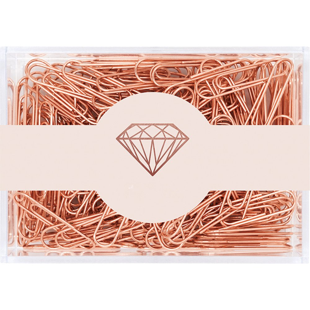MultiBey Rose Gold Paper Clips Non-Skid Smooth Finish Steel Wire Medium Large Size 200pcs 28mm or 70pcs 50mm per Box (28mm)
