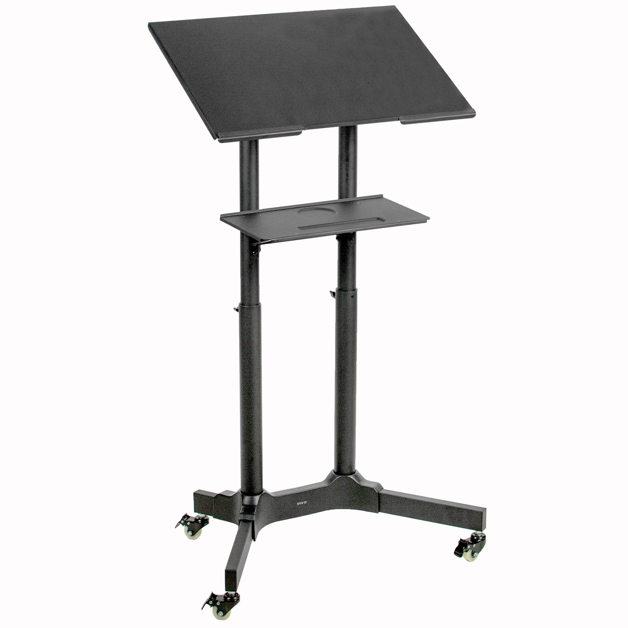VIVO Black Steel Mobile 24 inch Height Adjustable Multi-Purpose Rolling Podium, Lectern, and Laptop Workstation Desk with Storage Tray (CART-V03E)