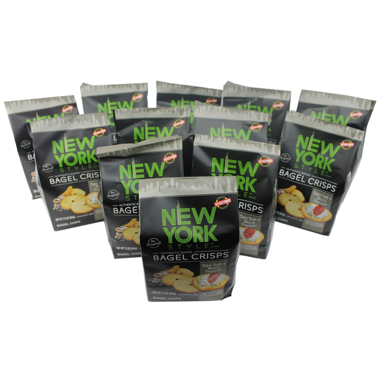 New York Style Bagel Crisps SEA SALT & CRACKED PEPPER, 7.2 Ounce - (Pack of 12) Add Some Crunch To Soup by New York Style