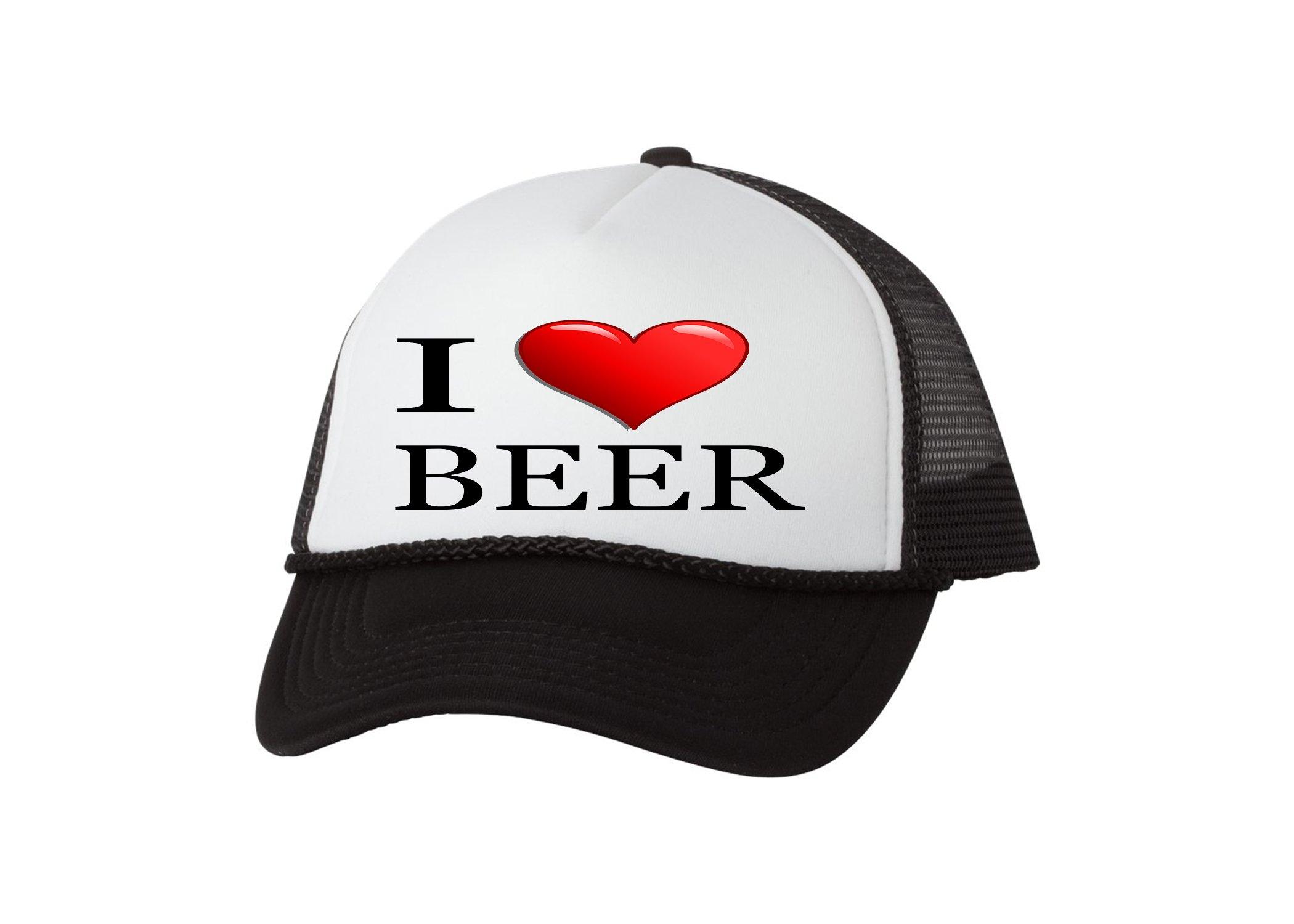 67b2884b2 Rogue River Tactical Funny Trucker Hat I Love Beer Baseball Cap Retro  Vintage Joke Heart Alcohol Drinking (Black)