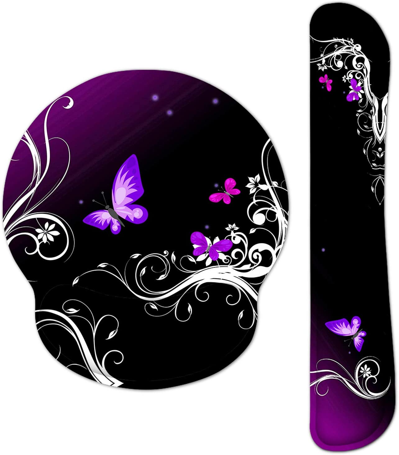 HAOCOO Ergonomic Keyboard Wrist Rest Pad and Mouse Pad Wrist Support Set with Non-Slip Backing Memory Form-Filled, Easy-Typing and Pain Relief for Gaming Office Computer Laptop(Purple Butterflies)
