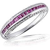 Goldmaid Damen-Ring Memoire 14 Karat 585 Weißgold 18 Rubine 44 Brillanten SI/H 0,14 ct. Me R6253WG