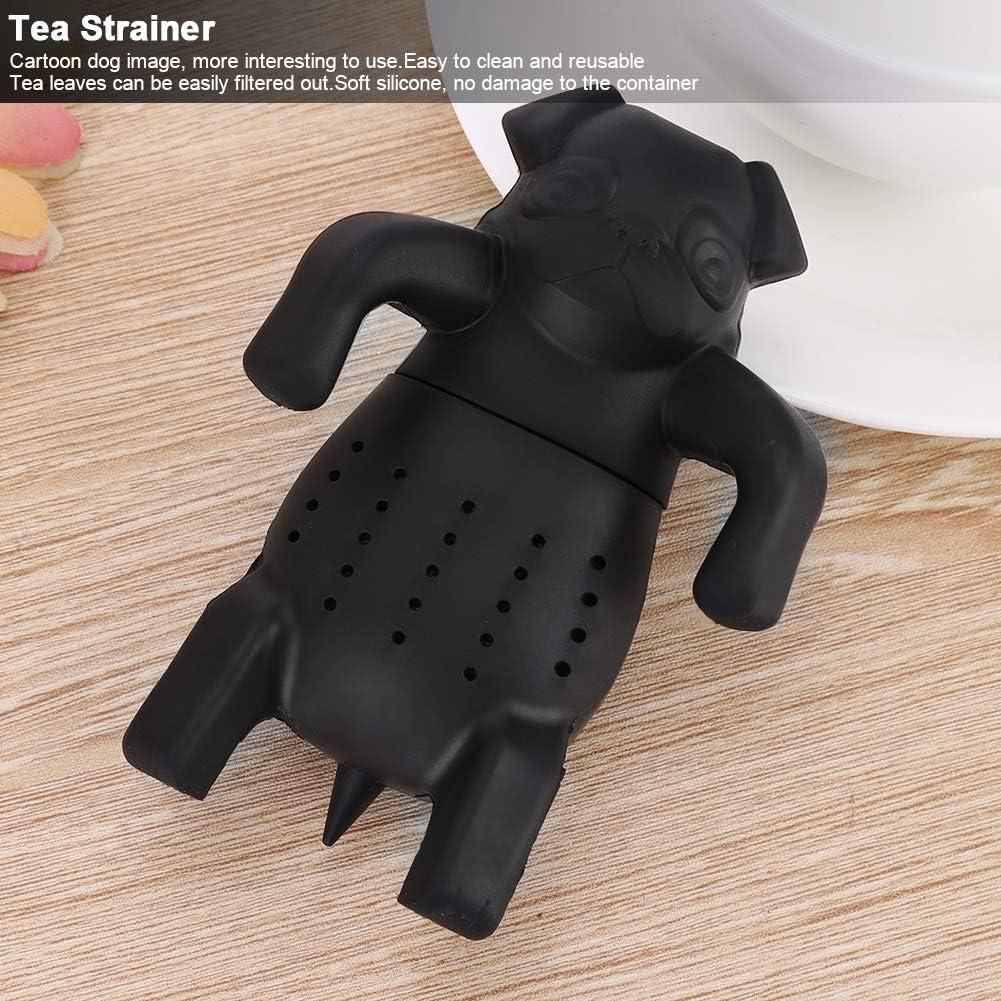 Reusable Cartoon Dog Silicone Loose Tea Strainer Infuser Filter Gadget Soft Cute Tea Set Accessory Black