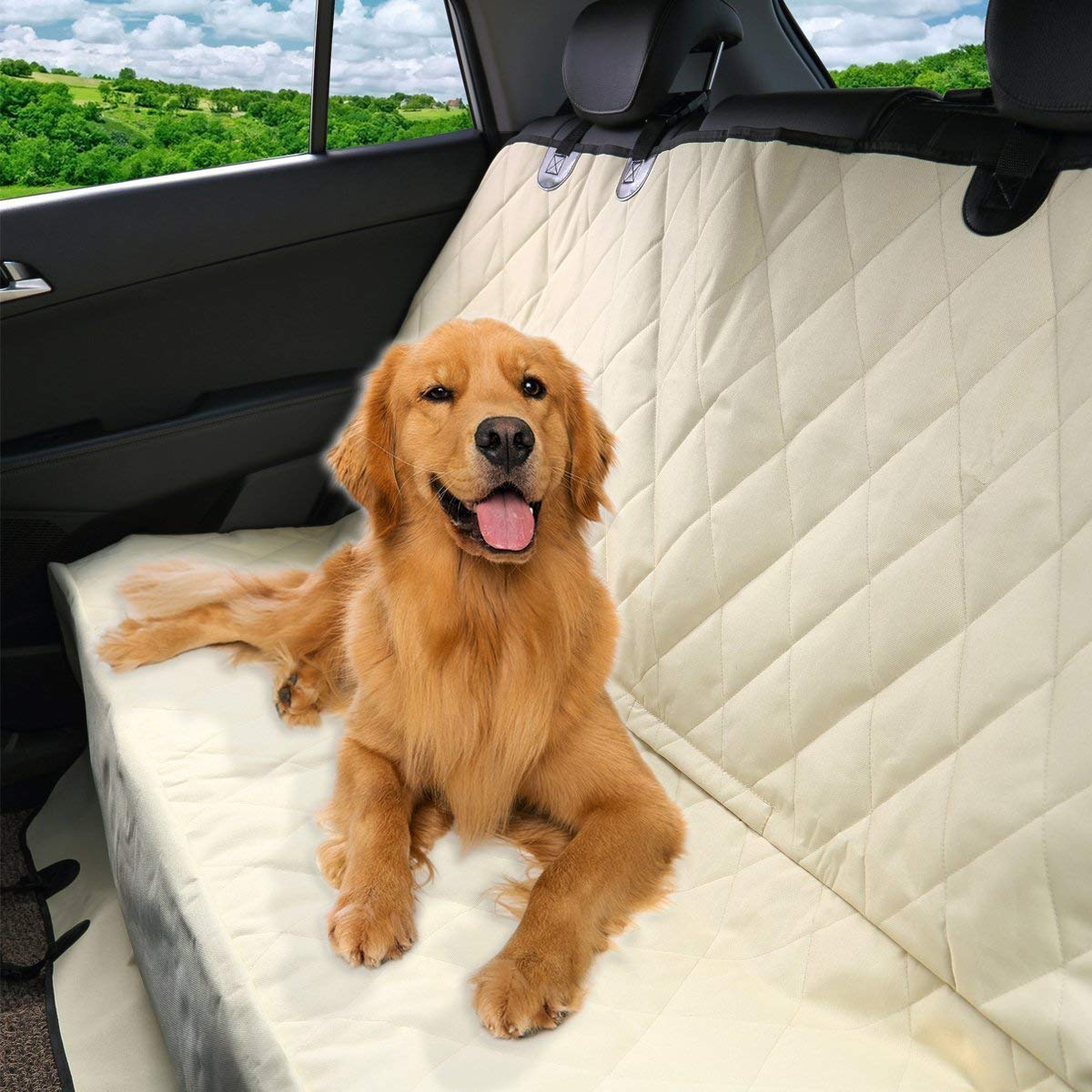 2019 Luxury Pet Car Seat Cover Waterproof & Scratch Proof & Nonslip Backing & Hammock Style & Heavy Duty Back Seat Predector for Cars Trucks and SUVs