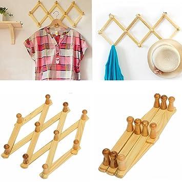 Takestop - Lote de 2 percheros plegables de madera para ...